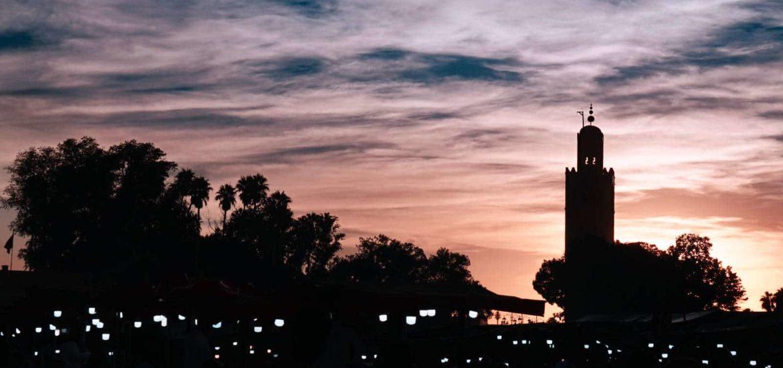 Koutoubia Moschee bei Nacht
