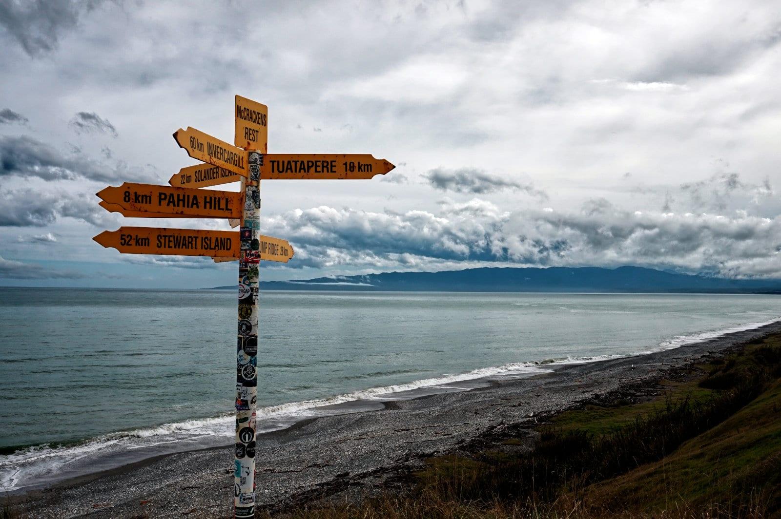 Wegweiser in Neuseeland